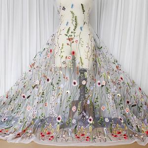 1 Quintal vestuário tecido costura Net Fio 3D Bordado Chiffon Flor Tecido Rendas Malha Material Vestido DIY Acessórios de Vestuário