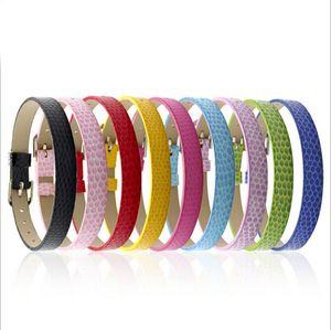 10 pcs 8mm * 210mm padrão de cobra decorados pulseiras de couro pu ady acessórios se encaixam 8mm encantos deslizantes