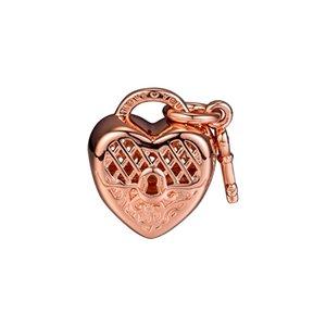 2018 Outono 925 Sterling Silver Jewelry Love You Bloqueio Rose Gold Charme Beads Serve Pulseiras Colar Para As Mulheres Fazer Jóias