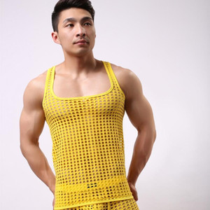 Homem Ver Através Do Tanque Top Masculino Engraçado Malha Fishnet Vest Cut-outs Sem Mangas Camisola Buraco Homme Camisas Frete Grátis