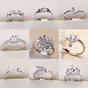 Venta al por mayor DIY Pearl Ring Settings 925 Sliver Ring para mujeres 9 estilos DIY Ring Tamaño ajustable Anillos de boda Regalo de Navidad Joyería de moda