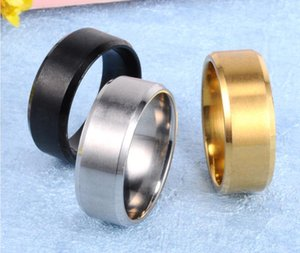 Stainless Steel Ring Lovers Ring Fashion Jewelry Accessories Black Gold Silver For Women Men 3 Colors