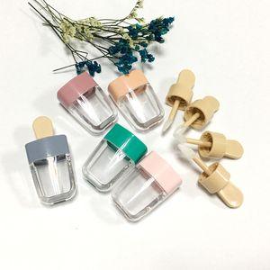 50 unids 3.5 ml vacío helado rosa / verde brillo de labios tubo DIY bálsamo labial contenedor para líquido cosméticos lápiz labial plástico botellas de maquillaje