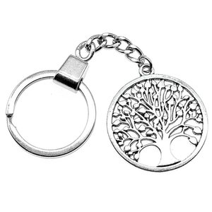 6 Pieces Key Chain Women Key Rings Fashion Keychains For Men New Round Tree Of Life 38x34mm