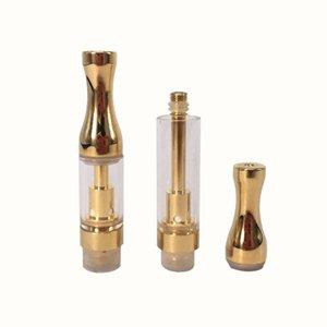 .5ml 1ml Vaporizzatore di vetro Oro / SS Metallo bocca denso Olio atomizzatore a nucleo ceramico Vapore a cartuccia Per olio estratto con fori di ingresso 4 * 2.0mm