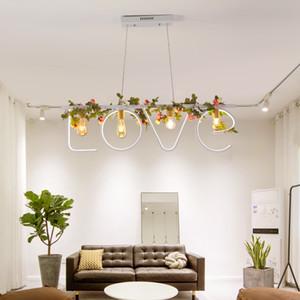 Nordic Bar личность подвесной светильник Art LOVE подвесная лампа романтический светодиодный ресторан подвесной светильник мода пасторальный зеленый завод подвесные светильники