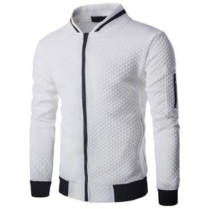 Laamei Men's Veste Homme Bomber Fit Argyle Zipper Jacket Casual Jacket 2018 Autumn New Trend White Fashion Men's Jackets Clothes