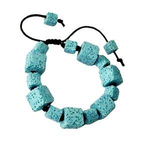 Gioielli in pietra naturale Colorato Volcano Bead Lava Stone Bracciale per donna Semplice Charm Bracelet Bangle Rope Chain Adjustable Size 6 Color