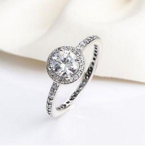 Real 925 anillos de diamantes CZ de plata esterlina con LOGO Fit Pandora style Joyería del anillo de bodas para las mujeres 12pcs / lot Usted puede tamaño mezclado