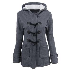 Vintage Mantel Duffle Toggle Jacken Kapuzenmantel Fleece Parka Jacke Frau schlank Herbst Winter Toggle Coat