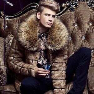 Homens de luxo casaco de pele falso casaco macio casaco de pele falso casaco Shaggy F0431 M-3XL manga comprida