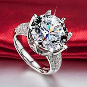 CZ Zircon Ring Sparkling Luxury Ring Silver Wedding Rings