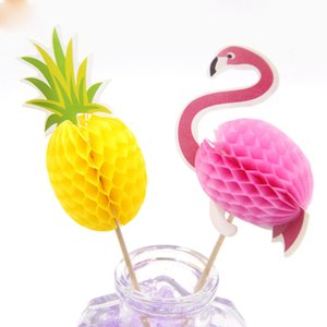 DIY FlamingoPinapple 컵 케익 Toppers 케이크 Topper 추천 결혼식 / 생일 파티 장식 베이비 샤워 용품