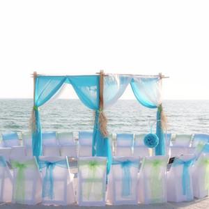 Eco-Friendly 50pcs 18x275cm envío del banquete del partido oscuro Coral organza cubierta de la silla de los marcos del marco del arco decoración de la boda gratis
