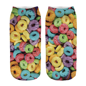 1pair 3D Donuts Printed Short socks Women Men Low Cut Ankle Colorful Cotton Casual Character Sock  New