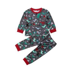 Дети девочка мальчик Рождество динозавр топы t рубашка брюки леггинсы наряд одежда