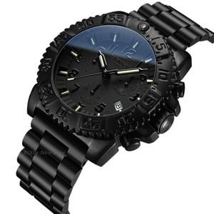 Hombres más Tritio T25 luz de freno reloj cronógrafo de cuarzo Ronda hombres tritio los relojes luminosos de acero a prueba de agua completa