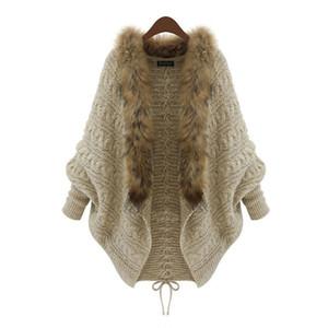 Ropa de niña Suéter Knied Chica Chaqueta de punto Abrigos Abrigos Cuello de piel Chaqueta de punto Ropa de moda para bebés Ropa de 14-20 años