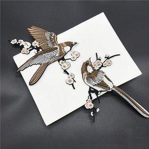 2 ADET Çiçek Kuş Saksafon Işlemeli Yamalar Demir giysi için giysi çantası aplike nakış DIY Malzemeleri El Sanatları Sticker