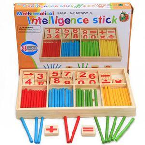 Монтессори игрушки Детские головоломки Деревянные Math Развивающие игрушки Количество счетные палочки Игрушки детей Математика Обучение Вуд Box