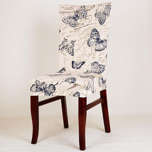 Spandex Elastic Butterfly Printing Chair protector Flipcover Cucina Dining Chair Cover rimovibile antipolvere decorativo caso di seduta