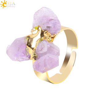 Csja Gold Plated Irregular Natural Amethyst Ring for Lady Purple Crystal Gemstone Adjustable Austrian Finger Rings E274