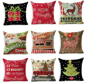 Bonne Noël Taie d'oreiller En Lin Canapé De Bande Dessinée Housse De Coussin Throw Pillows Case Décoration 45 * 45 cm
