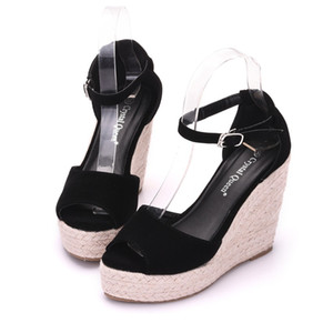 Artı Boyutu Bohemian Kadın Sandalet Ayak Bileği Kayışı Saman Platformu Kadın Ayakkabı Için Akın Akın Yüksek Topuklu Kapak Topuk Sandal