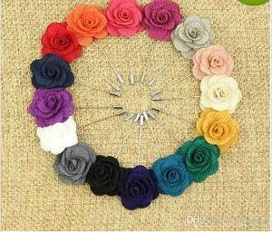 Risvolto flower camelia fatto a mano boutonniere spilla perno accessori da uomo 16 colori pulsante bastone flower spille per la festa di nozze