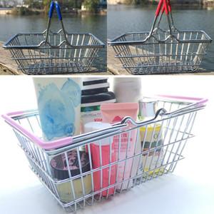 Yeni Mini Süpermarket Alışveriş Sepeti Sepeti Çocuk Oyuncak Masaüstü Kozmetik Eşyalar Organizatör Demir Saklama Kutusu Kovaları 3 Boyutu WX9-481