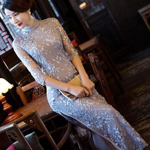 Mulheres Chinesas cetim Cheongsam Lace vestido longo Qipao China Oriental bordar vestidos tradicionais chineses Bordados Cheongsams