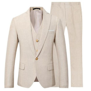 Personalizar el diseño Light Beige Men Wedding Tuxedos Novios Tuxedos Peak Lapel One Button Men Dinner / Darty Dress (Jacket + Pants + Tie + Vest) 1857