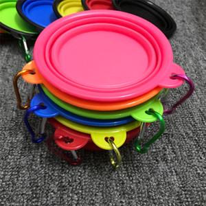 Plegable portátil de silicona Comedero para perro gato cachorro, Alimentación viaje Cuenco con mosquetón fácil lleva vibratorio Pet Food T1I396 Plato