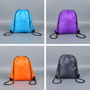 Hot New Style Both Shoulders Drawstring Bag 190t210d Nylon Bundle Pocket Polyester Rope Bag Custom Logo T7I499