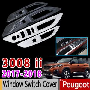 Para Peugeot 3008 II Cubierta de Interruptor de Ventana de Carbono de Fibra de Carbono Interna Accesorios de Coche de Alta Calidad Pegatinas 3008 GT 2017 2018