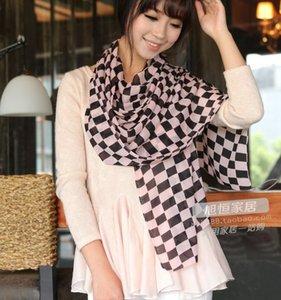 100% soie Corée style de mode noir kaki rose 3 couleurs écharpe grille géométrie mousseline conception foulards châle