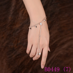 3pcs Fashion Rhinestone di cristallo a mano Harness Bracciale Link Chain Finger Ring Rose Gold Color Star e gioielli di rombo Set B0449