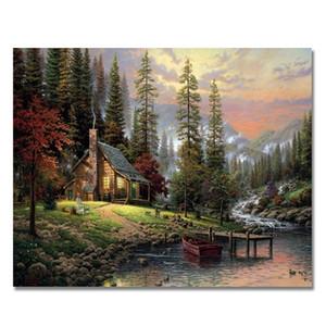 Hut in the Forest Dipinto a mano HD Stampa Modern Abstract Landscape Art pittura a olio su tela Home Decor Wall Art Multi formati l201