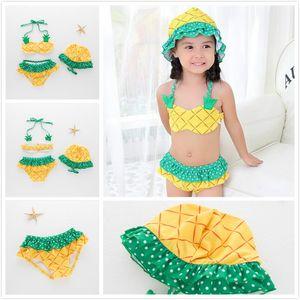 الفتيات الصيف ملابس الشاطئ الأزياء الأصفر الأناناس قطعتين ملابس السباحة مع القبعات الفواكه دوت مطبوعة ملابس السباحة سبا الطفل