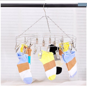 Multi Functional Drying Hanger 20 Clips Stainless Steel Clothes Socks Shorts Underwear Rack Windproof Durable 6qx C R
