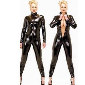 2015 Hot Sexy Catwomen negro mono PVC Spandex Latex Catsuit disfraces para mujeres trajes de cuerpo Fetish Leather Dress Plus Size XXL Y18101601
