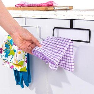 Wholesale- Towel Storage Rack Rail Metal Rag Holder Over the Door Cabinet Cupboard Hanging Towel Hanger Kitchen Accessories percha puerta
