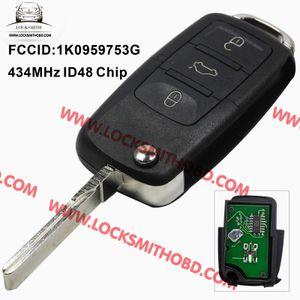 1k0 959 753 г складной флип ключ ключевой ввод без ключа удаленный передатчик для VW Volkswagen сиденья 3 кнопки 434 МГц с чипом ID48