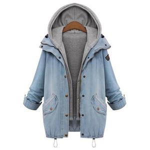 Large Size Oversized Denim Jacket For Women Vintage Hooded Loose Denim Coats Two Piece Set Cowboy Jacket Female Outerwear