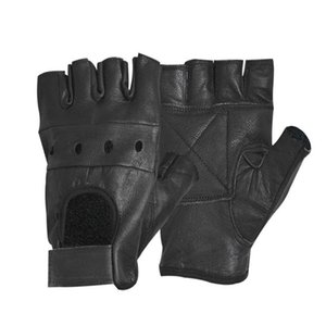 Guanti in pelle da uomo HOT Fashion Half Finger Fingerless Stage Sport Driving Solid Black Gloves