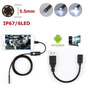 5.5 мм объектив 1 м Android USB эндоскоп камеры змея кабель мини-камеры для телефона Android ПК эндоскоп