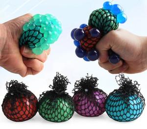 Mesh Squishy Super Ball 6 centimetri di gomma Vent d'uva Palla antistress che comprime sforzo sfera sollievo per bambini adulti DDA425