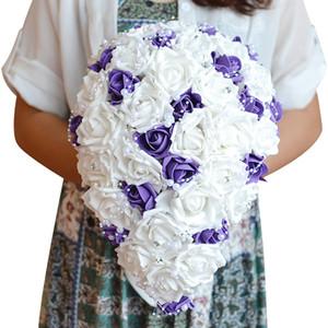 JaneVini Purple White Waterfall Bouquet de novia para novias Diamond PE cinta de espuma Rose Crystal Bouquet Pearl Brooch Bruids Boeket 2018