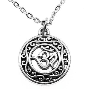 WYSIWYG 5 Pieces Metal Chain Necklaces Pendants Male Necklace Fashion Hollow Carved Circle Om Symbol 22x19mm N2-B13483