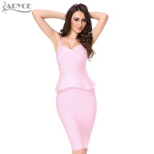 20187 ADYCE 2018 2 zweiteiliger Satz Frauen Verbandkleid Weiß Rot Schwarz Khaki Knielangen Club Sexy Bodycon Kleid Celebrity Party Dresses